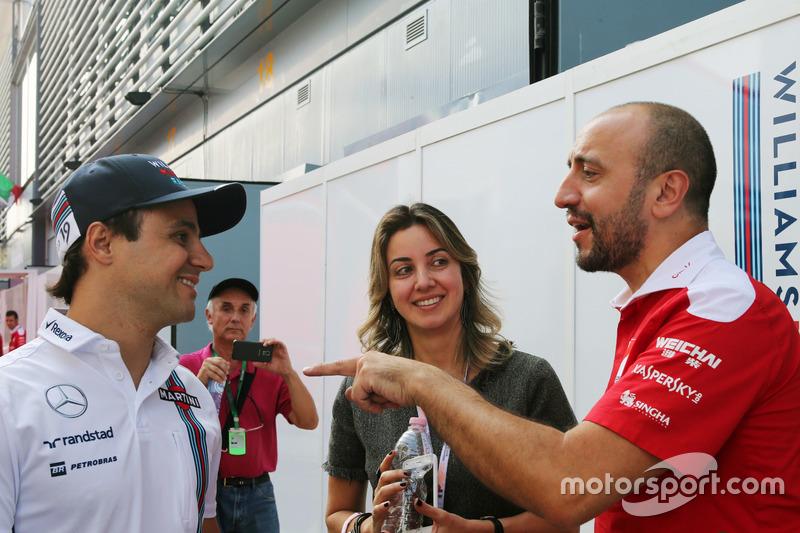 Felipe Massa, Williams with his wife Rafaela Bassi,