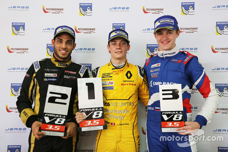 Kazanan Louis Deletraz, Fortec Motorsports, 2. Roy Nissany, Lotus, 3. Egor Orudzhev, Arden Motorspor