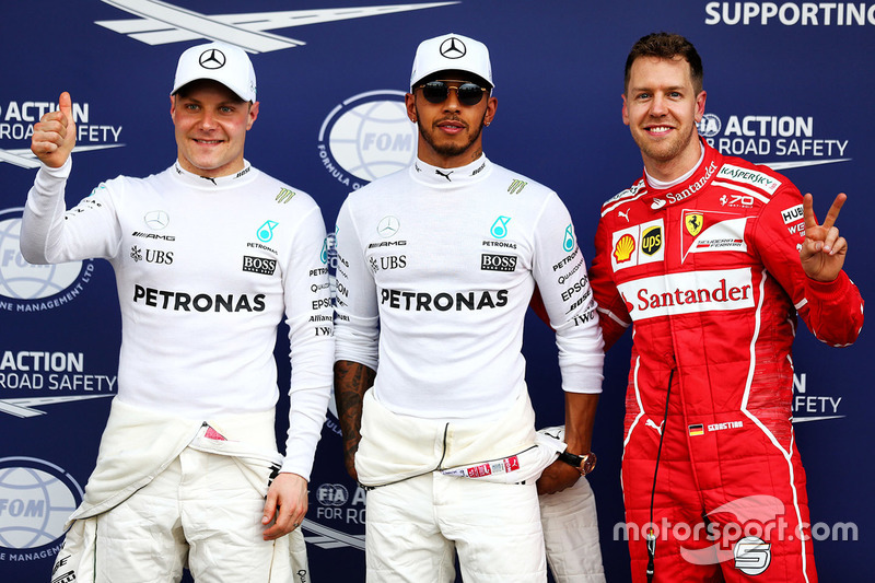 Polesitter: Lewis Hamilton, Mercedes AMG F1, second place Sebastian Vettel, Ferrari, third place Valtteri Bottas, Mercedes AMG F1