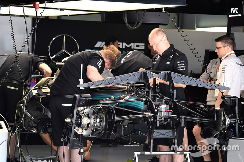 Mercedes AMG F1 W08 in the garage