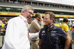 Ross Brawn, Managing Director of Motorsports, FOM, shares a joke, Christian Horner, Team Principal, Red Bull Racing