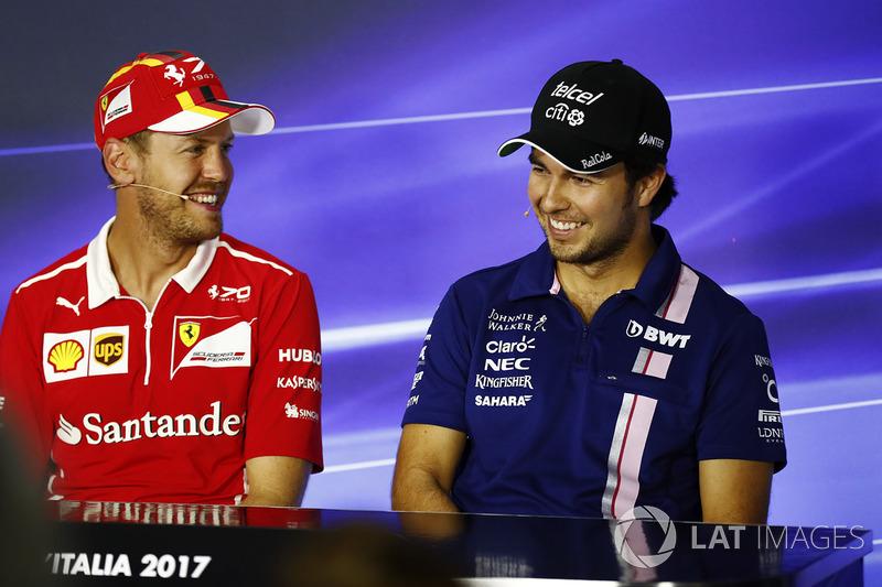 Press conference: Esteban Ocon, Force India, Sebastian Vettel, Ferrari, Sergio Perez, Force India