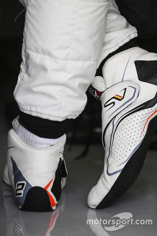 The boots of Stoffel Vandoorne, McLaren