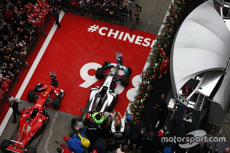Sebastian Vettel, Ferrari, on the podium