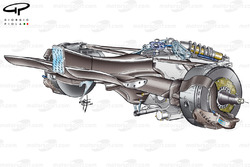 Jaguar R5 gearbox, crash structure, gearbox, rear suspension and rear brake assembly
