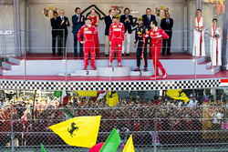 Race winner Sebastian Vettel, Ferrari, Second place Third place Kimi Raikkonen, Ferrari Daniel Ricciardo, Red Bull Racing, Riccardo Adami, Race Engineer, Ferrari, on the podium