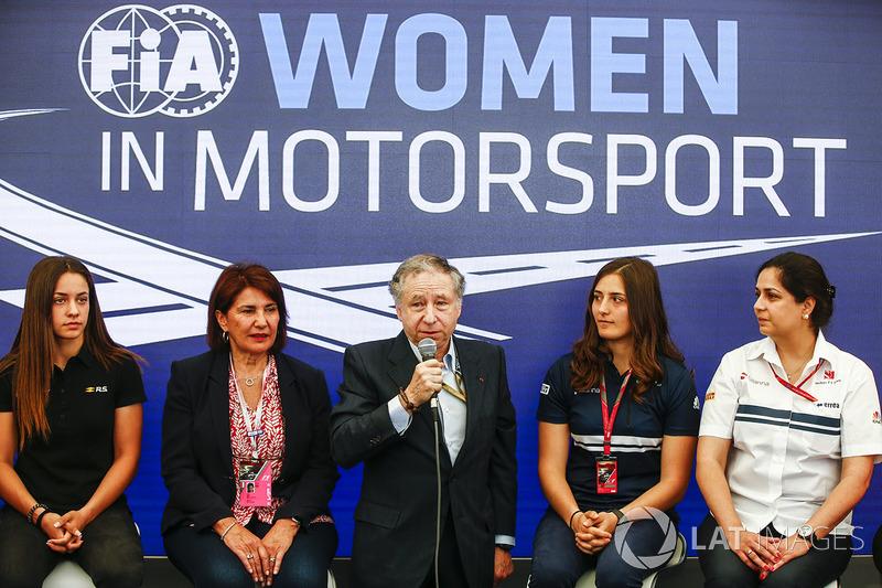 Marta Garcia, Renault Sport F1 Team Sport Academy, Michelle Mouton, Jean Todt, président FIA, Tatiana Calderon, Sauber et Monisha Kaltenborn, Team Principal, Sauber, à la Conférence sur les femmes dans les sports mécaniques