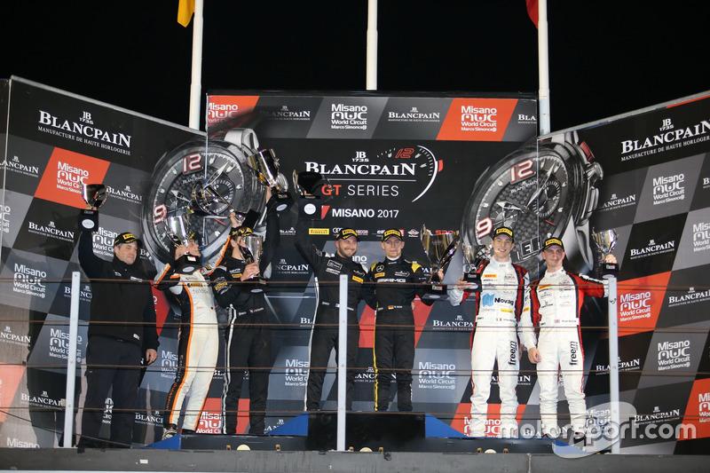 Podium: Race winner #84 Mercedes-AMG Team HTP Motorsport, Mercedes-AMG GT3: Maximilian Buhk, Franck