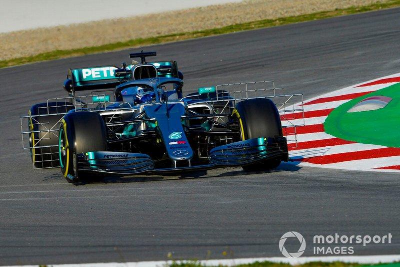 Valtteri Bottas, Mercedes AMG F1 W10, con dei sensori