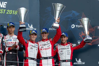Podium: third place #3 Rebellion Racing Rebellion R-13: Mathias Beche, Gustavo Menezes, Thomas Laurent
