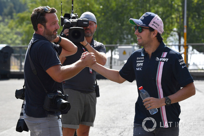 Sergio Perez, Force India and James Moy, Photographer