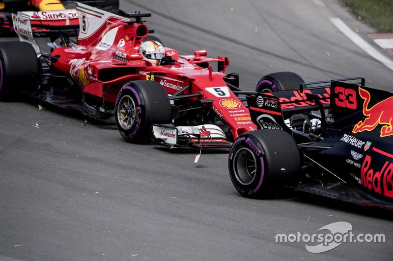 Sebastian Vettel, Ferrari SF70H, choque