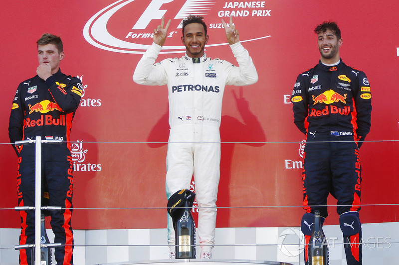 2017: 1. Lewis Hamilton, 2. Max Verstappen, 3. Daniel Ricciardo