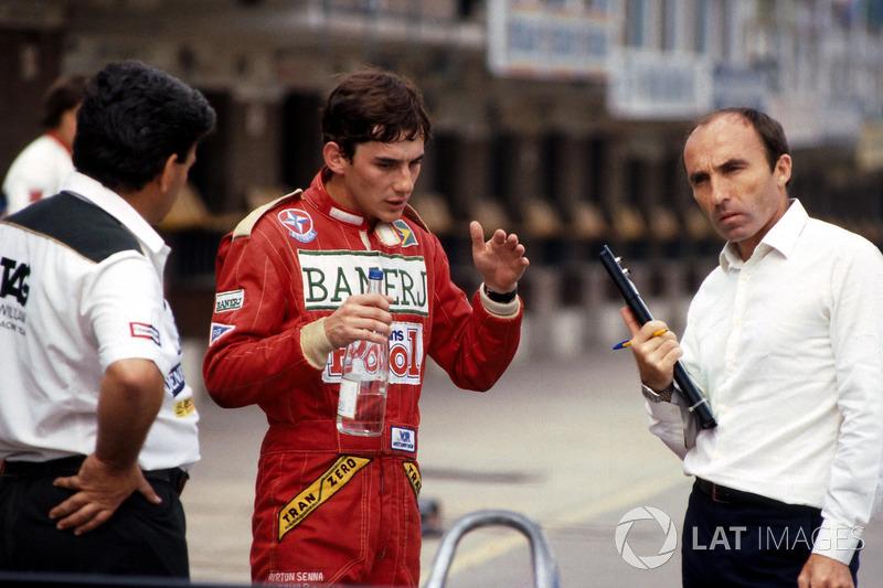 Ayrton Senna, habla de su primera vuelta en el Williams FW08C con el dueño del equipo Frank Williams