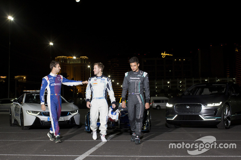 Antonio Felix da Costa, Amlin Andretti Formula E Team, con Sam Bird, DS Virgin Racing y Mitch Evans, Jaguar Racing