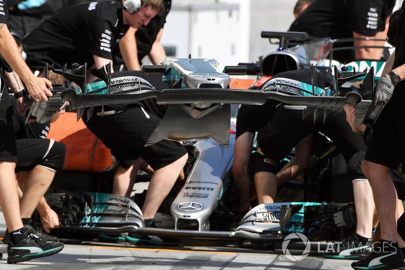 L'aileron avant de la Mercedes-Benz F1 W08