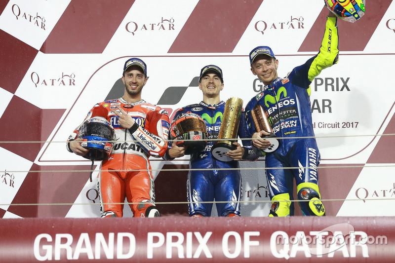 Podium: 2. Andrea Dovizioso, Ducati Team; 1. Maverick Viñales, Yamaha Factory Racing; 3. Valentino Rossi, Yamaha Factory Racing