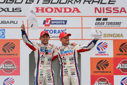 GT500 podium: race winners #1 Team Sard Lexus LC500: Kohei Hirate, Heikki Kovalainen