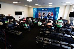 Nicki Shields, Jérôme d'Ambrosio, Dragon Racing, Adam Carroll, Jaguar Racing, and Felix Rosenqvist, Mahindra Racing, in the press conference