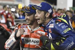 Le vainqueur Andrea Dovizioso, Ducati Team, le troisième Valentino Rossi, Yamaha Factory Racing