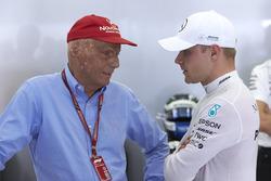 Niki Lauda, Non-Executive Chairman, Mercedes AMG, with Valtteri Bottas, Mercedes AMG F1