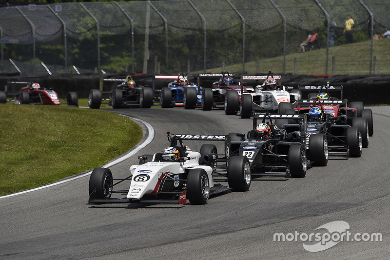 Kyle Kirkwood (Cape Motorsports), the eventual 2018 USF2000 champion, leads at Mid-Ohio.