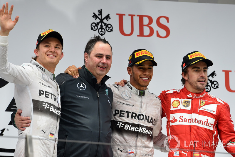 2014: 1. Lewis Hamilton, 2. Nico Rosberg, 3. Fernando Alonso