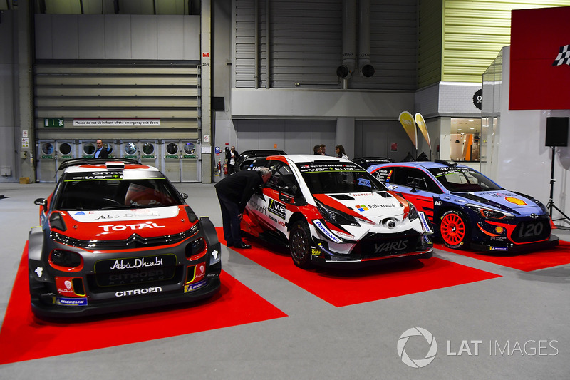Citroen, Hyundai and Toyota WRC cars on display
