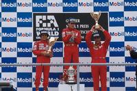 Podium: ganador, Ayrton Senna, segundo, Alain Prost, tercero, Nigel Mansell