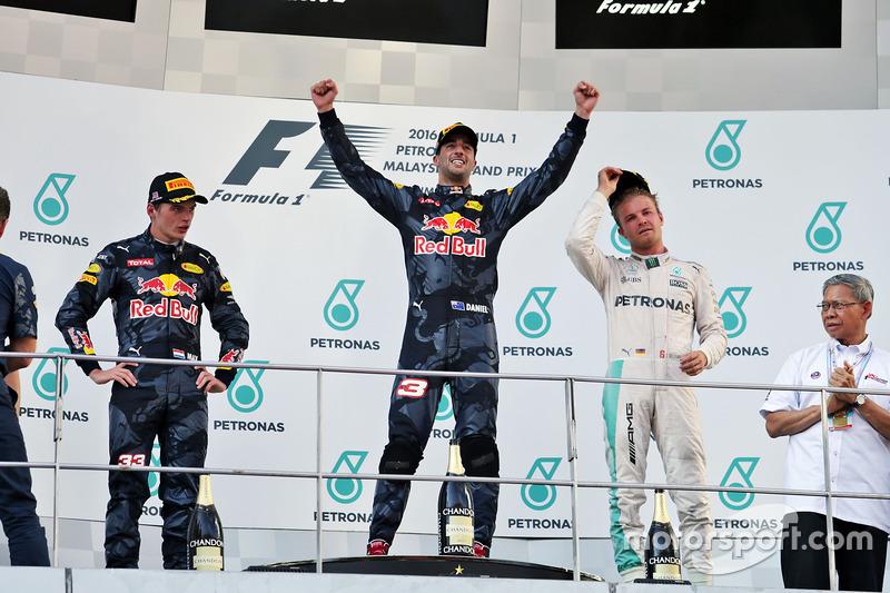 The podium (L to R): Max Verstappen, Red Bull Racing, second; Daniel Ricciardo, Red Bull Racing, race winner; Nico Rosberg, Mercedes AMG F1, third