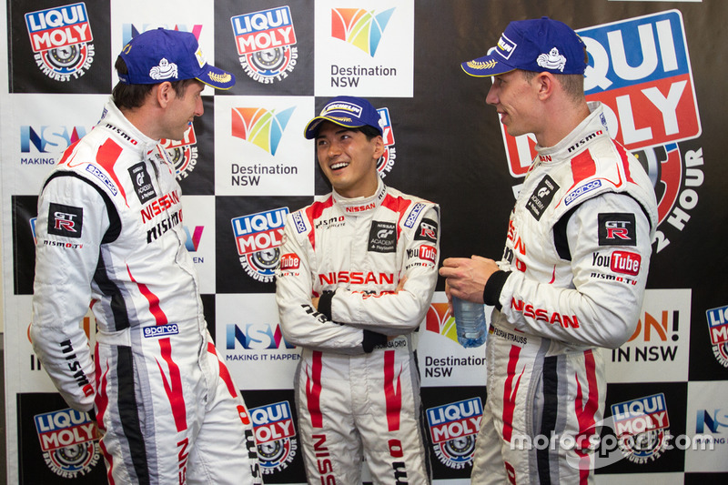 Post-race press conference: second place Rick Kelly, Katsumasa Chiyo, Florian Strauss, Nissan Motorsports