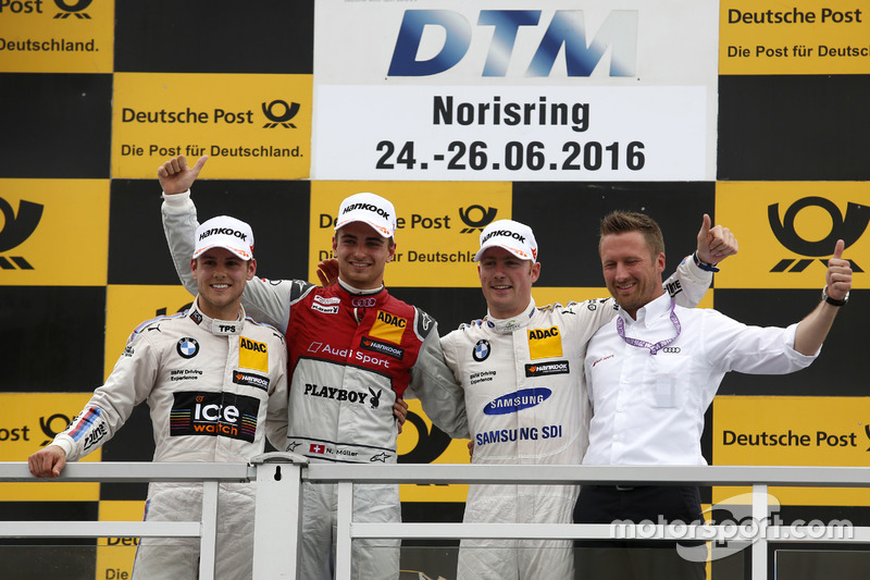 Podyum: 1. Nico Müller, Audi Sport Team Abt Sportsline, Audi RS 5 DTM; 2. Tom Blomqvist, BMW Team RBM, BMW M4 DTM; 3. Maxime Martin, BMW Team RBM, BMW M4 DTM;  Michael Seifert (GER) Team manager Abt Sportsline