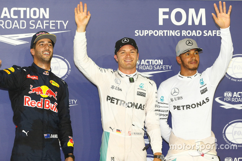 Qualifying Top 3; Pole position for Nico Rosberg, Mercedes AMG F1 W07 Hybrid; second place Daniel Ricciardo Red Bull Racing; third place Lewis Hamilton, Mercedes AMG F1 W07 Hybrid