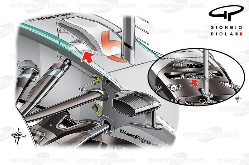 Mercedes W06 front suspension bay
