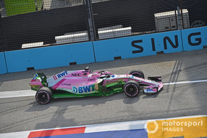 Sergio Perez, Racing Point Force India VJM11, con parafina