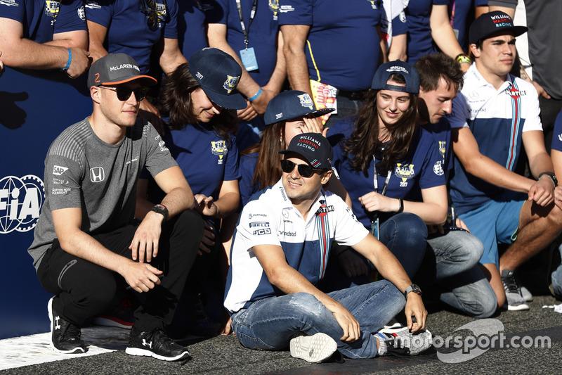 Stoffel Vandoorne, McLaren, Felipe Massa, Williams, Lance Stroll, Williams, at the FIA Volunteers Da