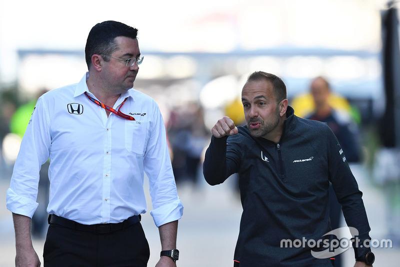 Eric Boullier, McLaren Racing Director, Matt Morris, McLaren