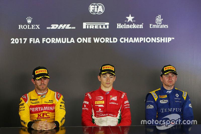 Conferencia de prensa: ganador de la carrera Charles Leclerc, PREMA Powerteam, segundo Norman Nato, Pertamina Arden, tercero Oliver Rowland, DAMS
