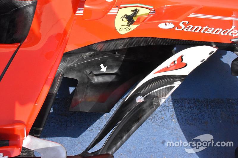 Ferrari SF70H, extensiones del divisor en forma triangular