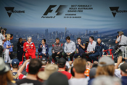 Maurizio Arrivabene, Team Principal, Ferrari, Monisha Kaltenborn, Team Principal and CEO, Sauber, Guenther Steiner, Team Principal, Haas F1 Team, Toto Wolff, Executive Director (Business), Mercedes AMG, Christian Horner, Team Principal, Red Bull Racing, Eric Boullier, Racing Director, McLaren, and Franz Tost, Team Principal, Scuderia Toro Rosso, on stage