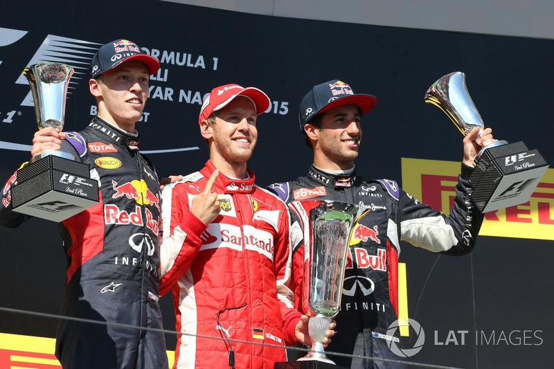 Podio: Daniil Kvyat, Red Bull Racing, Sebastian Vettel, Ferrari, Daniel Ricciardo, Red Bull Racing