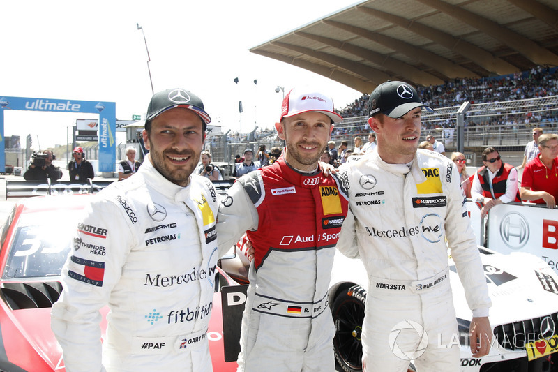 Top 3, Race winner René Rast, Audi Sport Team Rosberg, Audi RS 5 DTM, second place Gary Paffett, Mercedes-AMG Team HWA, third place Paul Di Resta, Mercedes-AMG Team HWA