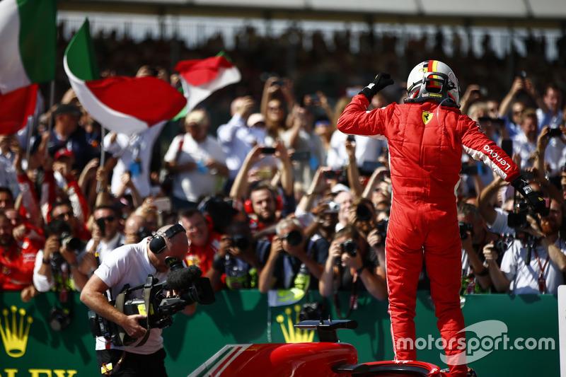 El ganador: Sebastian Vettel, Ferrari