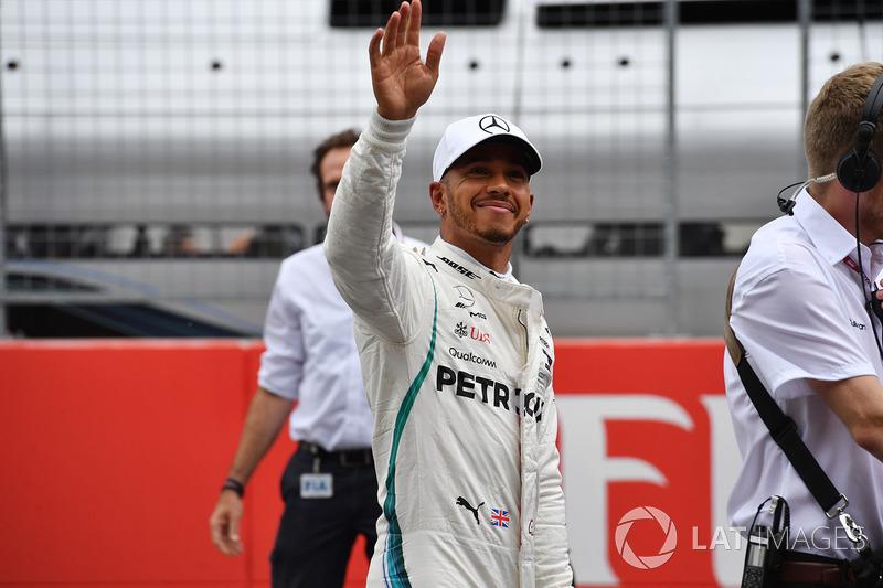 Second place Lewis Hamilton, Mercedes-AMG F1 celebrates in parc ferme