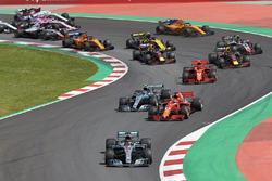 Lewis Hamilton, Mercedes AMG F1 W09, Sebastian Vettel, Ferrari SF71H, Valtteri Bottas, Mercedes AMG F1 W09, Kimi Raikkonen, Ferrari SF71H, Max Verstappen, Red Bull Racing RB14, Daniel Ricciardo, Red Bull Racing RB14.