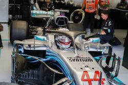 Lewis Hamilton, Mercedes AMG F1 W09, prepares to leave the garage