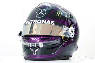 Lewis Hamilton black helmet unveil