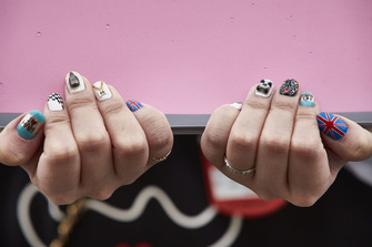 Finger nail decoration in support of Lewis Hamilton, Mercedes AMG F1