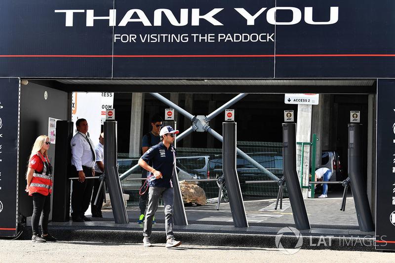 Sergio Perez, Force India at Paddock gates