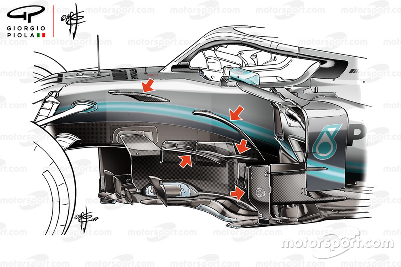 Mercedes AMG F1 W10 barge board